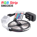 RGB LED Strip Light 5M 2835 SMD 60Leds/m Flexible LED Light Super Bright Waterproof DC12V 2A Power Adapter IR Remote Changeable
