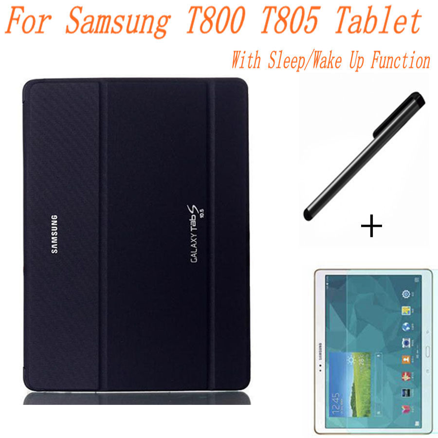 Business Ultra-thin Smart PU Leather Book Cover For Samsung Galaxy Tab S 10.5 T800 T805 Tablet Case+Free Screen Protector+Pen ultra thin smart pu leather cover case stand cover case for 2015 lenovo yoga tab 3 8 850f tablet free film free stylus
