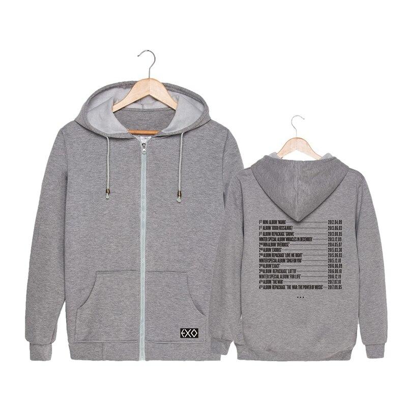 US $14 69 30% OFF KPOP Korean Fashion EXO Planet 4 The ElyXiOn Album List  Cotton Zipper Autumn Hoodies Zip up Sweatshirts PT661-in Hoodies &