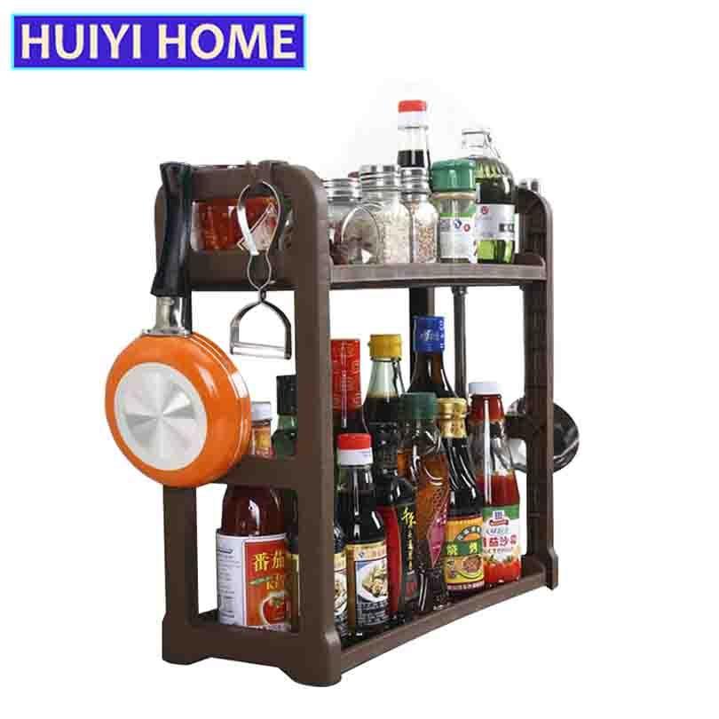 Dubultā slāņa virtuves garšvielu plaukts 2 krāsas plastmasas - Mājas uzglabāšana un organizēšana