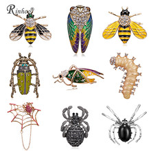 RINHOO de moda amarillo abeja Broches con forma de araña para los hombres de dibujos animados de moda de joyería de las mujeres declaración pañuelo pequeño Pines de insectos de Broches
