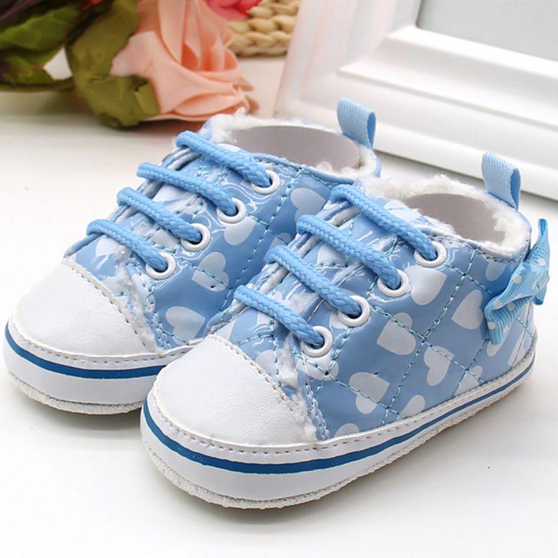 Nuevo 0-18 m bebé recién nacido fleece cálido cirb atan para arriba zapatos anti