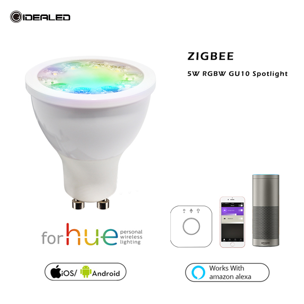 Zigbee bridge LED RGBW WW/CW 5W GU10 spotlight AC100-240V E27 E26 ZLL bulb link for hue Echo plus led APP controller dimmer led цена