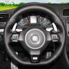 Hand Stitched Black Leather Car Steering Wheel Cover For Volkswagen Golf 6 GTI MK6 VW Polo