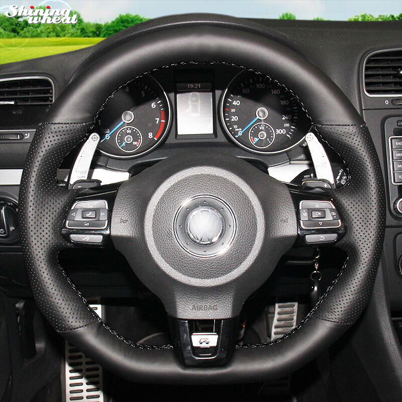 Hand-stitched Black Leather Car Steering Wheel Cover for Volkswagen Golf 6 GTI MK6 VW Polo GTI Scirocco R Passat CC R-Line 2010