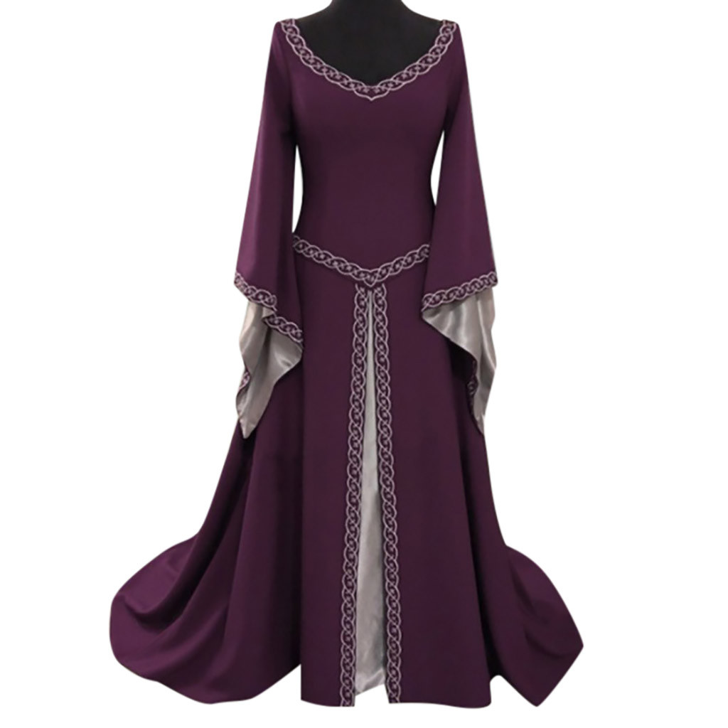 40e787c00f Feitong Plus Sieze Medieval Retro Dress Women s Long Sleeve V-Neck Long  Dresses Ladies Floor
