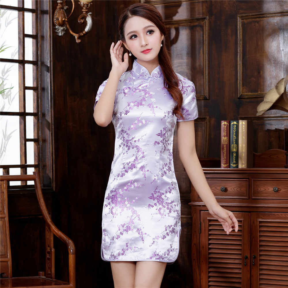 3ac12750c ... Vintage Gold Chinese Women Short Dress Sumer Satin Cheongsam Sexy Qipao  Floral Wedding Evening Party Dress