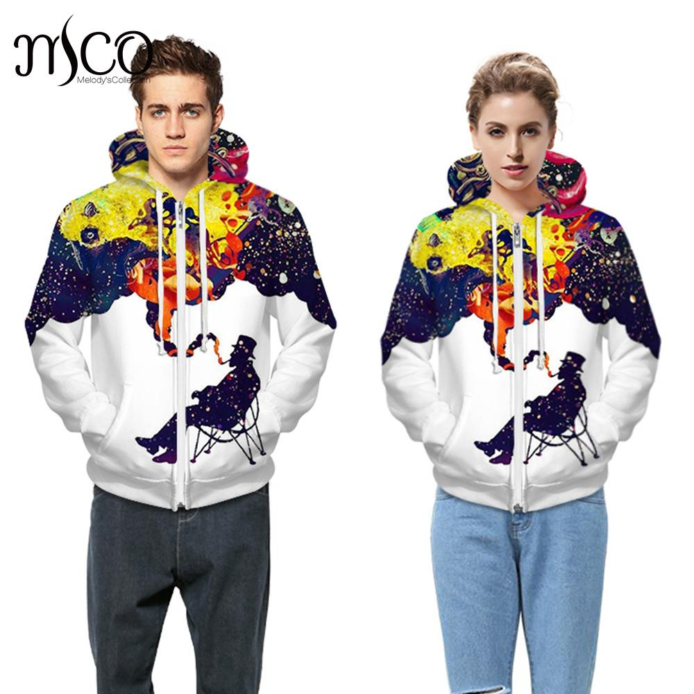 Male Plus Size Long Sleeve Colorful Jacket Coat with Pocket Men 3D Printing Hoodies Sweatershirt Tops