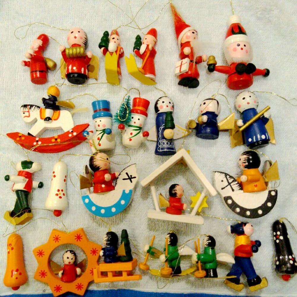 24Pcs/set Hanging Wooden Color Painted Santa Folk Nutcracker Snowman ...