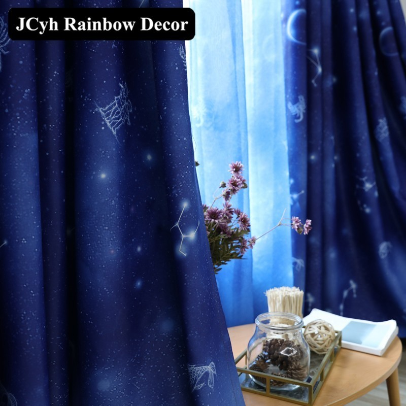 95% Shading Blue Starry Sky Blackout Curtains For Living Room The Bedroom Modern Curtains For Window Sunblinds Fabrics Cortina