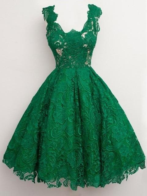 Emerald Green Lace Cocktail Dresses Knee Legnth Cap Sleeve Prom Dresses 2016 Robe De Soiree Courte