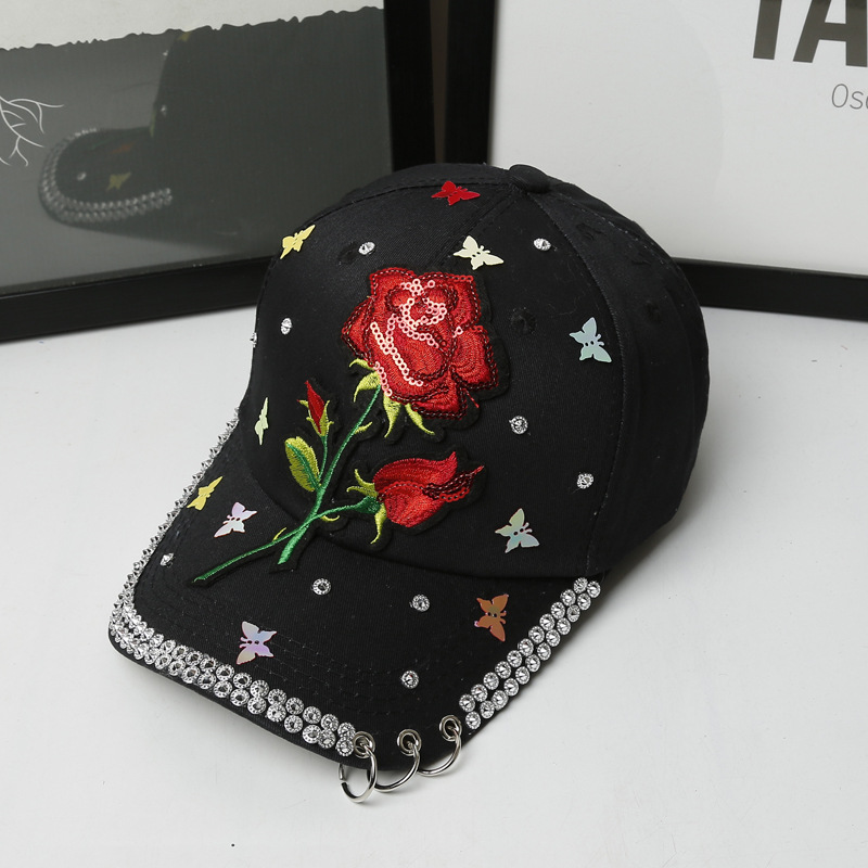 womens sequin baseball cap ladies sparkly caps new arrive font sequins rose embroidery diamond pink sparkle