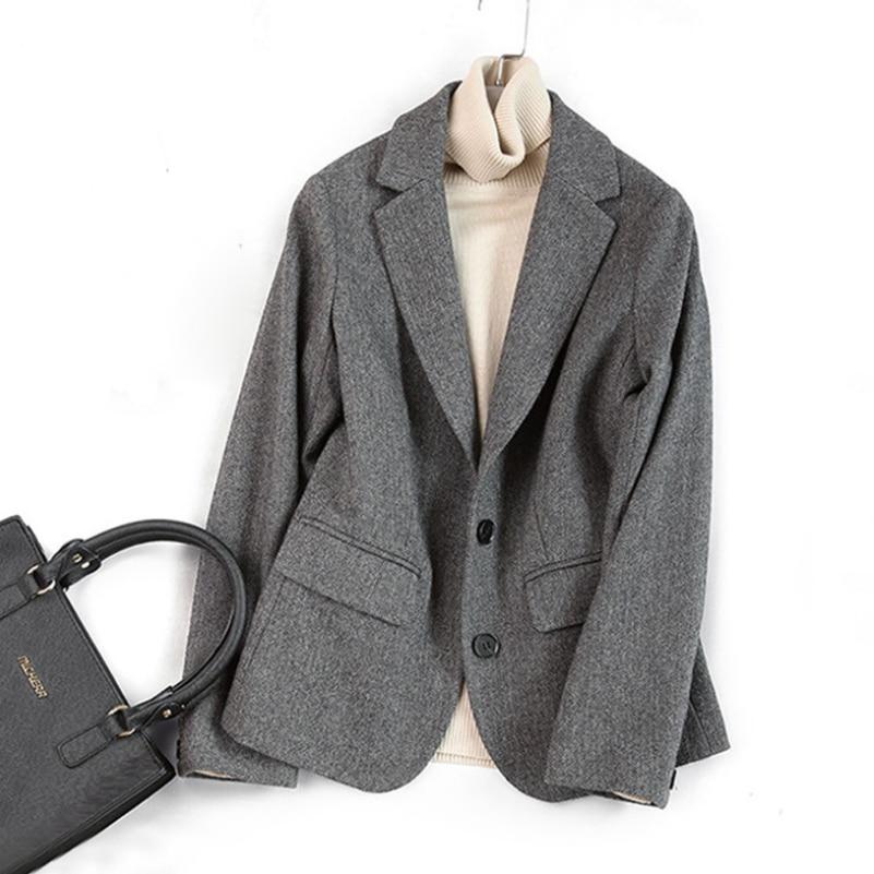 Woolen Blazers Coat Women Autumn Winter Double Breasted Blazers Office Lady Blazers Jacket