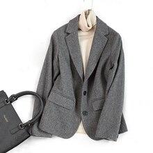 Woolen Blazers Coat Women Autumn Winter Double Breasted Office Lady Jacket