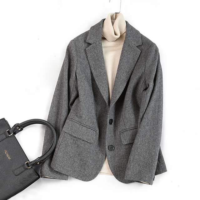 Woolen Blazers Coat Women Autumn Winter Double Breasted Blazers Office Lady Blazers Jacket