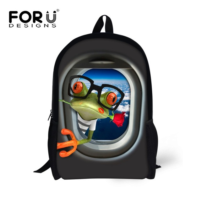Creative 3d animal rana jirafa pato de impresión niñas mochilas escolares mochila niños mochilas para adolescente cool kids book bolsos