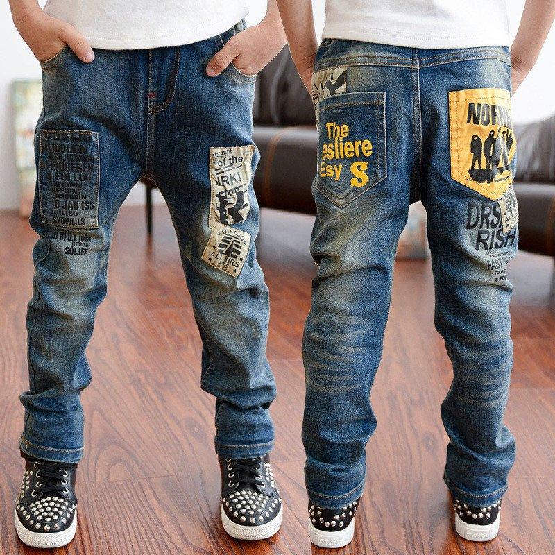 3-11T Autumn Baby Pants Casual Boys Jeans Bottom Children Denim Trousers Casaco Roupas Infantis Menina Kids Ripped Jeans Clothes fashion hi street mens ripped denim joggers black distressed jeans pants streetwear slim fit straight biker trousers size 28 42