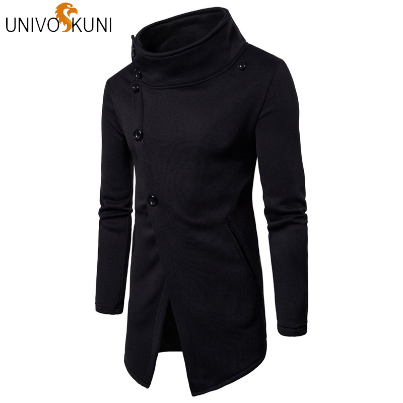 UNIVOS KUNI New Fashion Men Dress Fit Slim Longsleeve Cotton Coat Stand Collar Solid Jacket Button Casual Male Coats Q521