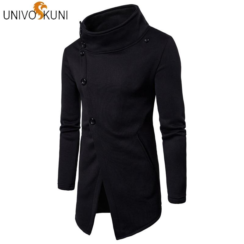 UNIVOS KUNI New Fashion Men Dress Fit Slim Longsleeve Cotton Coat Stand Collar Solid Jacket Button Casual Male Coats Q521