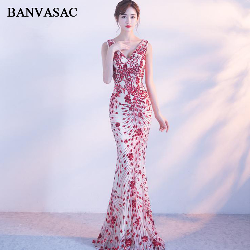 BANVASAC 2018 V Neck Red Sequined Mermaid Long   Evening     Dresses   Elegant Party Lace Appliques Backless Prom Gowns