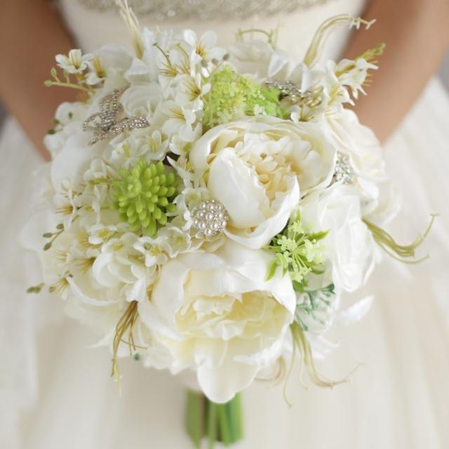 Custom High-end White Green Pearl Wedding Bouquet Wedding Flowers Bridal Bouquet Ramos De Novia Crystal Wedding Bouquets