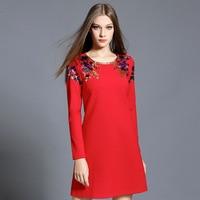 Vestido De Festa Autumn Winter Dress Women Elegant Round Neck Long Sleeve Black Red Fashion Dresses