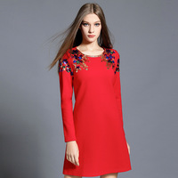 Vestido De Festa Autumn Winter Dress Women Elegant Round Neck Long Sleeve Black Red Fashion Dresses