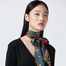 MENOGGA Silk Skinny Long Scarf 2019 Luxury Schals Ethnic Style Retro Colorful Multiple Use Designer Neck Hair Women