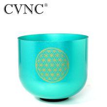 CVNC Flower of life Green 6 Colored Clear F  Chakra Heart Quartz Crystal Singing Bowl