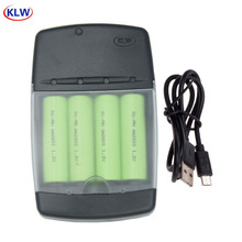 Smart USB Battery Charger for Rechargeable 1.2V AA AAA Size NiMh NiCd Batteries 4 slots NI MH NI CD battery charger LED display