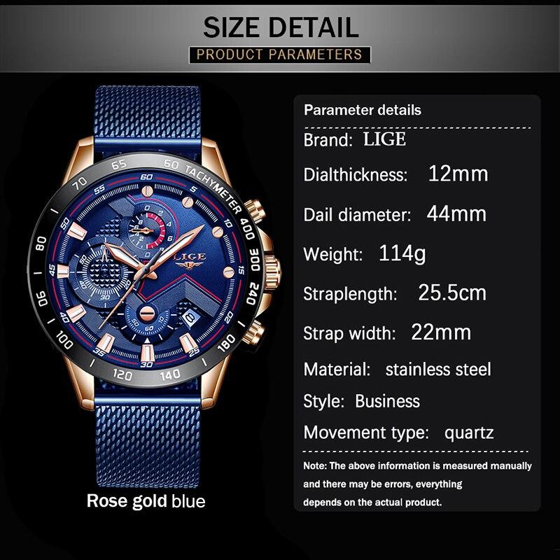 LIGE Fashion Mens Watches Top Brand Luxury WristWatch Quartz Clock Blue Watch Men Waterproof Sport Chronograph Relogio Masculino 6