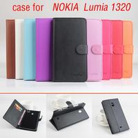 Litchi For Nokia Lumia 1320 Case With Wallet Good Quality New Leather Case Hard Back Cover