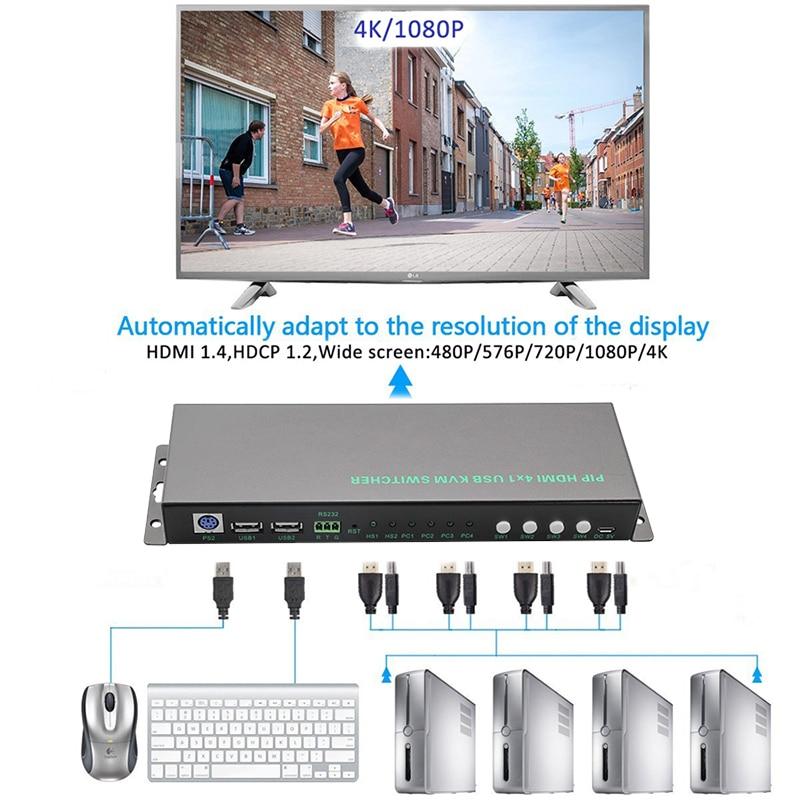 2018 4 Port USB HDMI KVM Switch PIP 4Kx2K 4 Port KVM Switch HDMI With USB