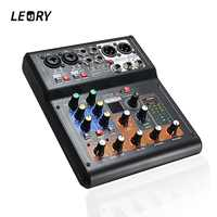 LEORY Mini 6 Channels Audio DJ Karaoke Sound Mixer Mixing Console With High Quality DSP Effect 16 Types For PC Audio KTV Meeting