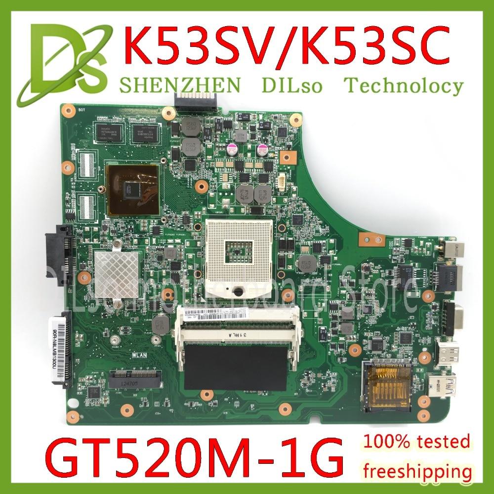 KEFU K53SV Laptop Motherboard K53SV REV 3.0/3.1 Fit For ASUS K53SC A53S X53S P53S K53SJ  K53SC GT520M-1G Notebook