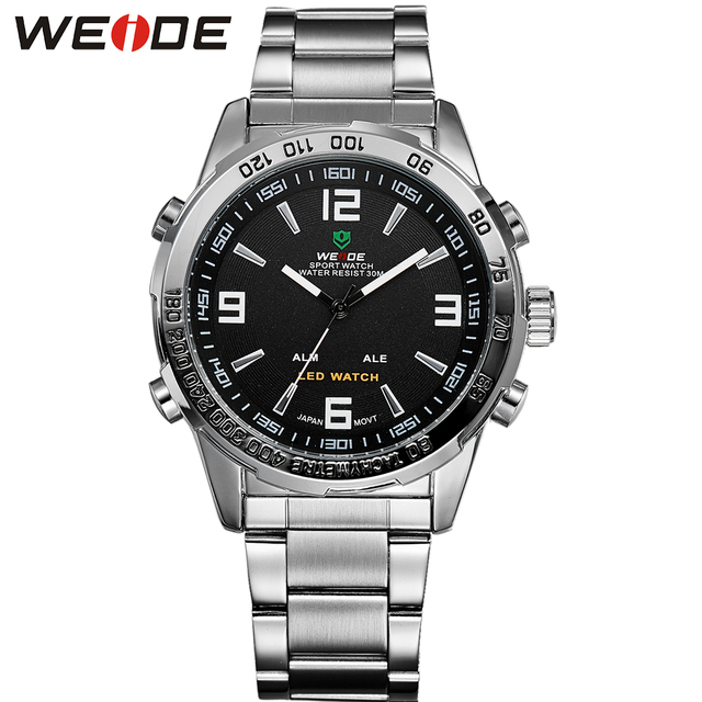 Hot WEIDE military watch 30 meters water resistant Casual Mens LED back light multi-functional analog digit popular sports watch