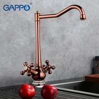 Gappo New Arrival Kitchen Faucet Ceramic Pattern Decoration Rose Golden Plating Double Handle G4065 3