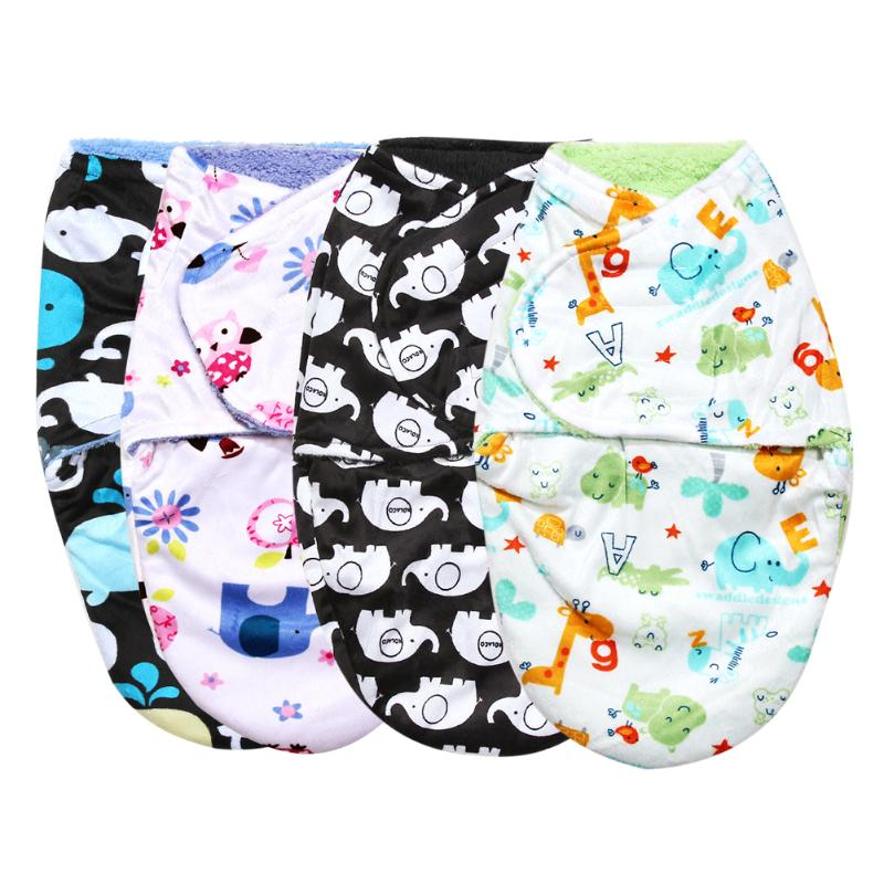 Newborn Baby Swaddle Wrap Blanket Winter Double Layer Short Plush Infant Baby Bedding Soft Swaddling Wrap Blanket Sleepsack