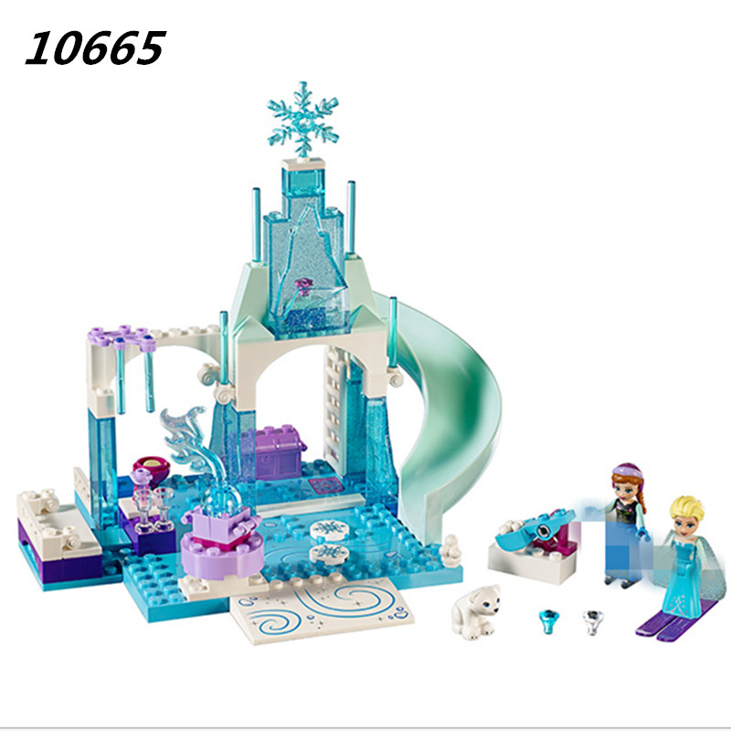 10665 Girl Friends Princess Snow Queen Anna Elsa's Sparkling Ice Castle Anna Elsa Building Blocks DIY Bricks Toys for Children lele 79168 elsa queen lainio snow village bricks toys minifigures building block toys best legoelieds