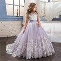 Princesa Lilás Vestidos Pageant Para Meninas Glitz Frisada Appliqued Do Laço Vestidos de Baile Puffy Bonito Vestidos Da Menina de Flor Para Casamentos 2017