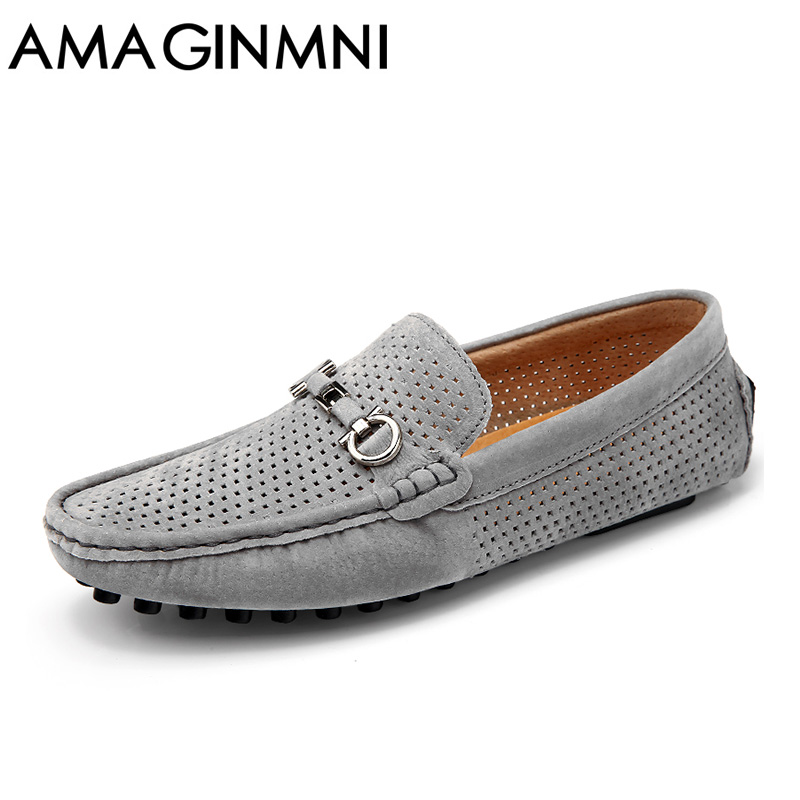 AMAGINMNI Brand 2018 fashion Genuine Leather Men casual shoes Summer Breathable Soft Driving Men's Handmade Net Surface Loafers