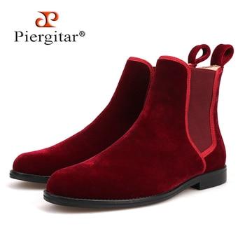 Handmade craft classic style Men CHELSEA Boots British style Burgundy Velvet Men's casual boots