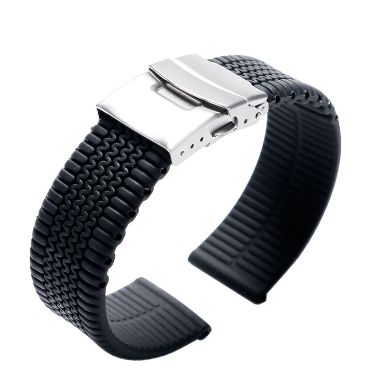 Black Silicone Bracelet Fold Over Clasp Replacement Waterproof Watch Strap Band Sport Diving Tire Link Rubber Safety Watchstrap silicone rubber watch band strap replacement smartwatch bands link bracelet for samsung galaxy gear s2 sm r720 black blue red