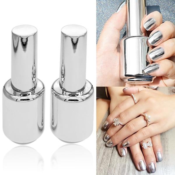 2 garrafas / Set incluem 15 ml espelho UV Gel unha polonês & 15 ml Base Coat UV verniz para unhas Kit de prata Shinny polonês para unhas # 22968