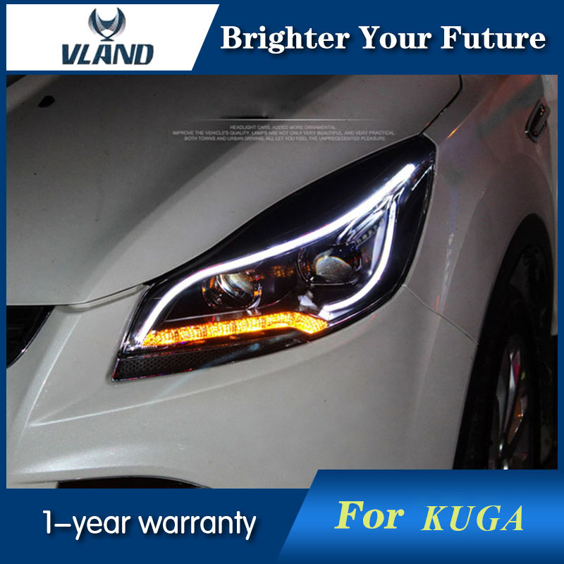 2Pcs Headlights assembly For Ford kuga 2013 2015 LED Head Lamp Bi xenon Lens H7 Projector