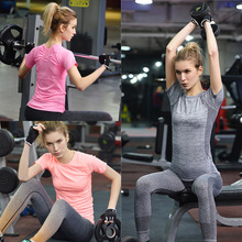 Professional Women Quick-drying Short-sleeve Tight T Shirt Anti-UV Fitness Tops Coat Breathable Bodybuilding Sportswears040
