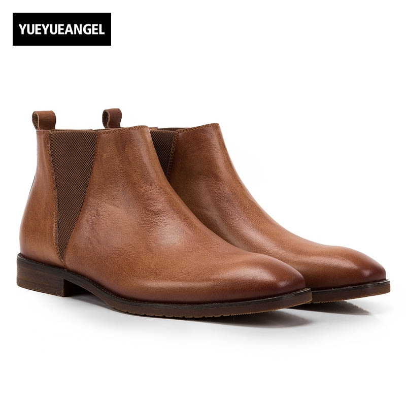 Vintage Genuine Leather Cow Mens British Style Ankle Chelsea Boots Soft Leather Male Low Heel Warm Breathable Brown Casual Shoes 2017 england style men genuine leather cow new fashion lace up breathable casual shoes male vintage match color black coffee