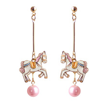 Fashion jewelry Cute Romantic Pink Imitation Pearl Colorful Enamel Horse Unicorn Drop Earrings for Women Girls Wedding Party