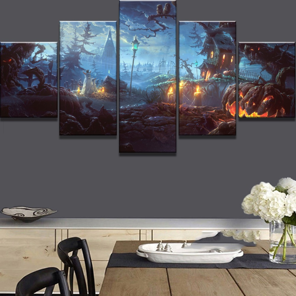 5 Piece HD Print Night Halloween Pumpkin Cuadros Landscape Canvas Wall Art Home Decor For Living Room Unique Gift Wall Picture in Painting Calligraphy from Home Garden