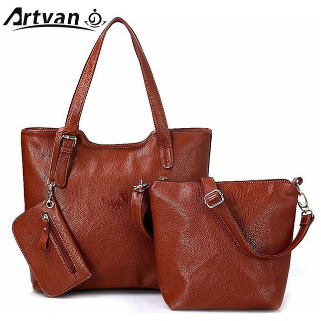 3 pcs sets 2018 women messenger bag with small free wallet women s leather  handbags for ladies female shoulder tote Bag WM44 ac7c63ae54